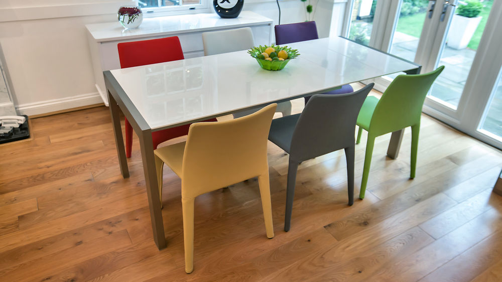 Modern White Gloss Extending Dining Table And Bright Coloured Chairs Rh  Danetti Com