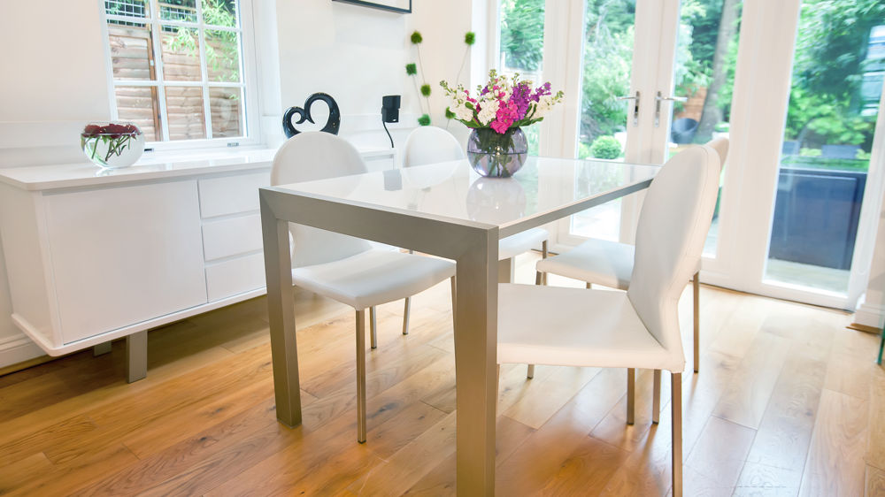 Contemporary White Extending Dining Set UK