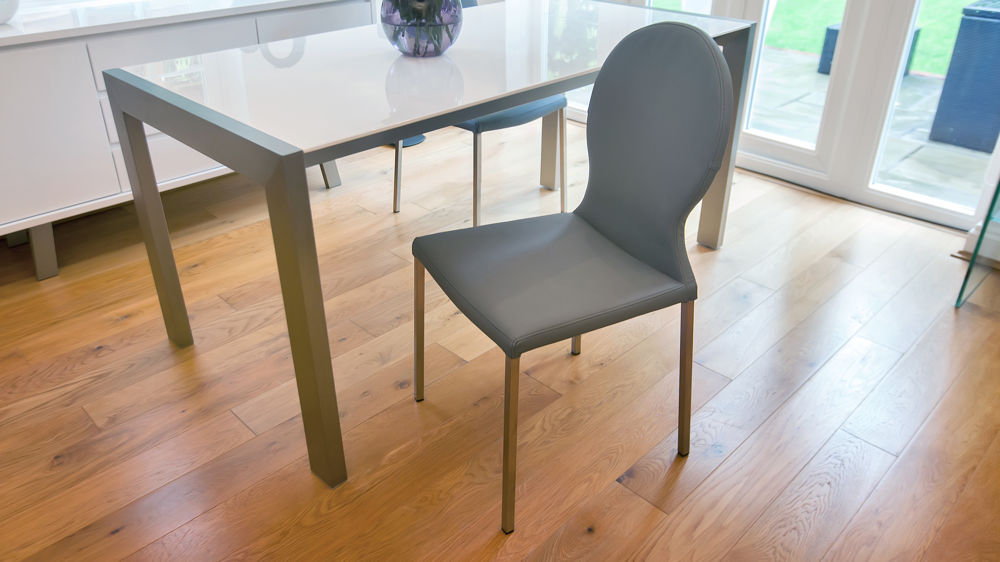 Modern Grey Dining Chairs and White Gloss Extending Dining Table