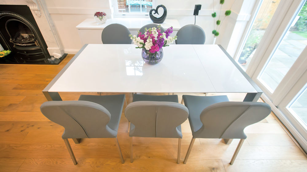 Modern White Gloss Extending Dining Table and Retro Chairs Seats 8