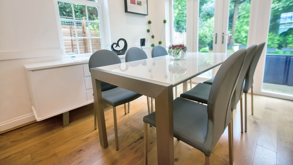 Large Glossy and Brushed Metal Legged Dining Table and Grey Chairs