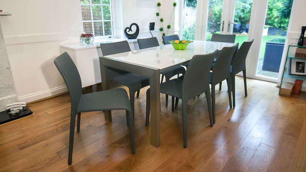 Large White Gloss Dining Table with Brushed Steel Legs
