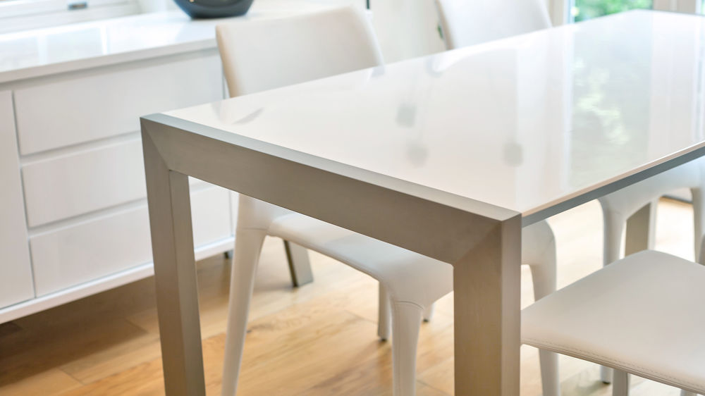Easy Clean White Gloss Double Extending Dining Table