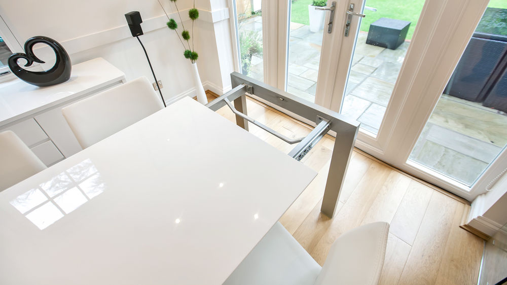 Modern White Gloss Extending Dining Table with Leaf Storage
