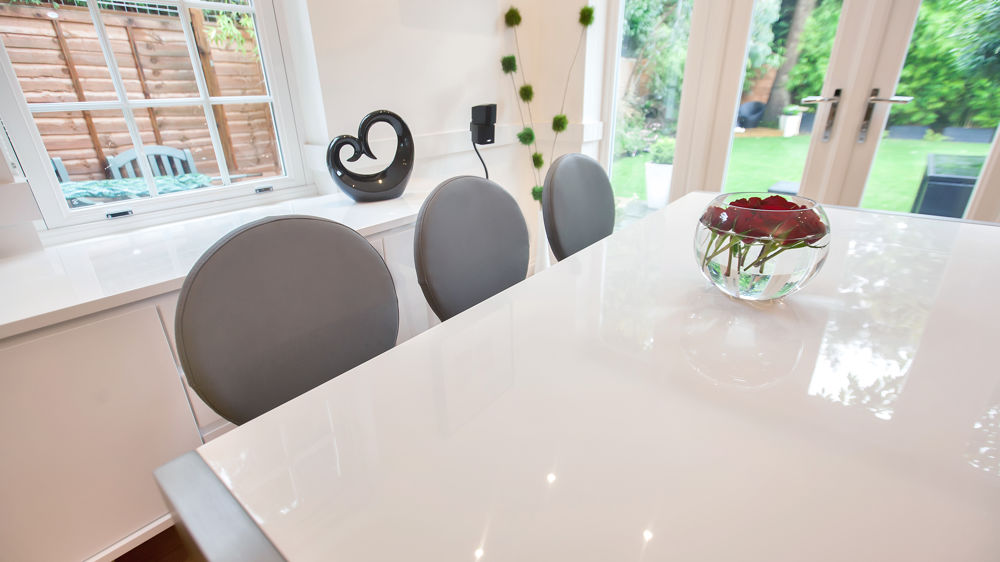White Gloss Extending Dining Table and Grey Dining Chairs