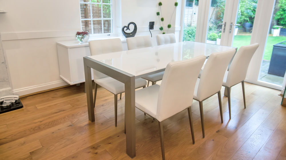 Contemporary White Gloss Double Extending Dining Table