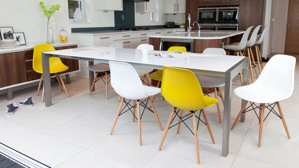 Modern Eames Style Dining Chairs and Double Extending Dining Table