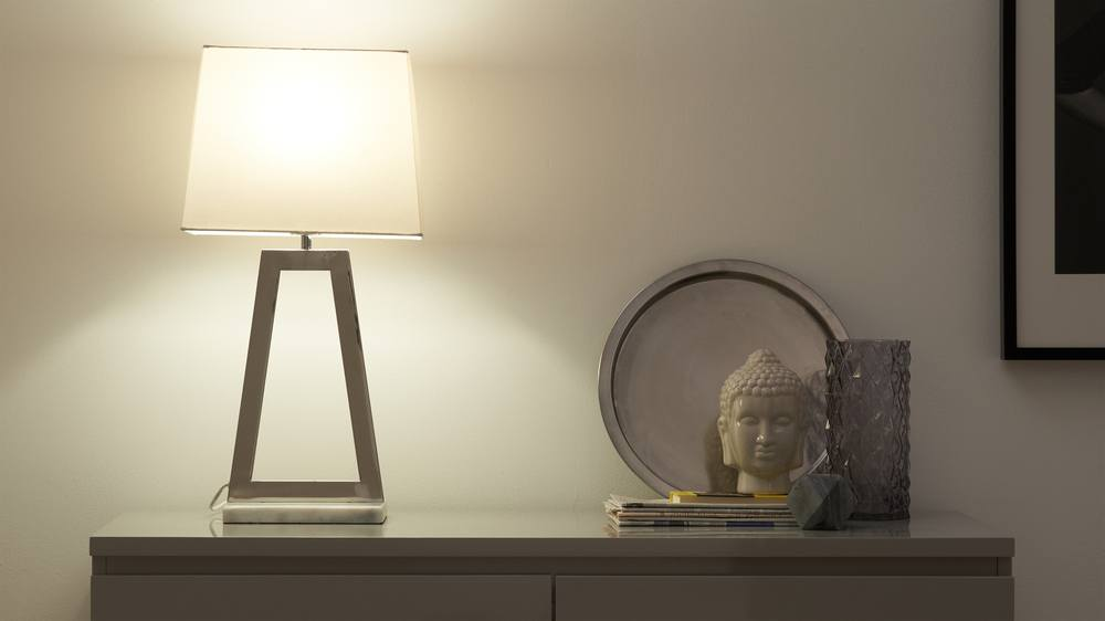 Chrome and marble base lamp