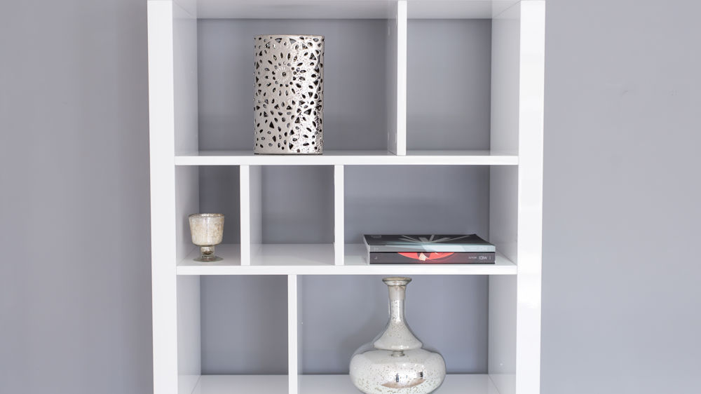 Modern Bookcase White High Gloss Funky Designer Room