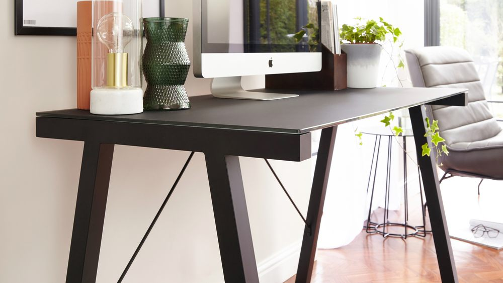 Modern Black Glass Desk