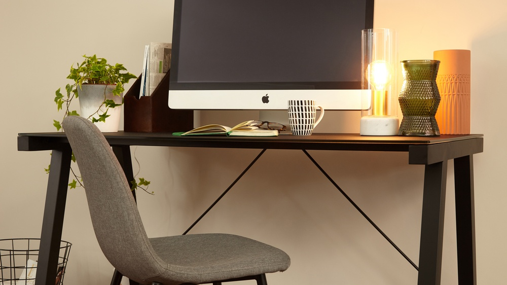 Black Glass and Brushed Black Legged Desk