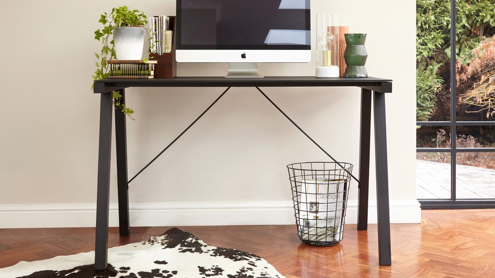 Black Brushed Metal and Black Glass Desk