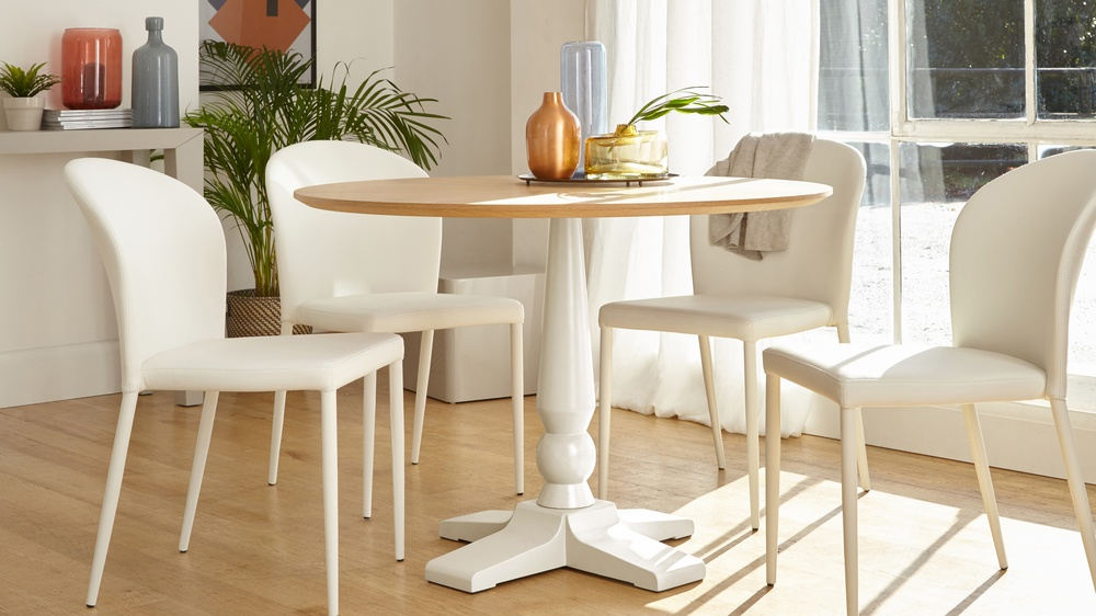 Cleo 4 Seater Matt White Pedestal Dining Table