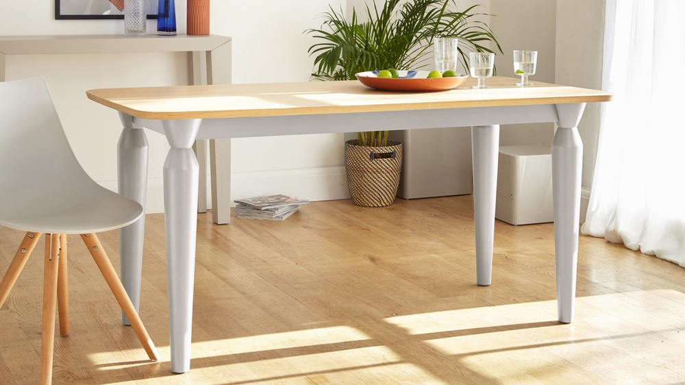 oak and grey modern dining table