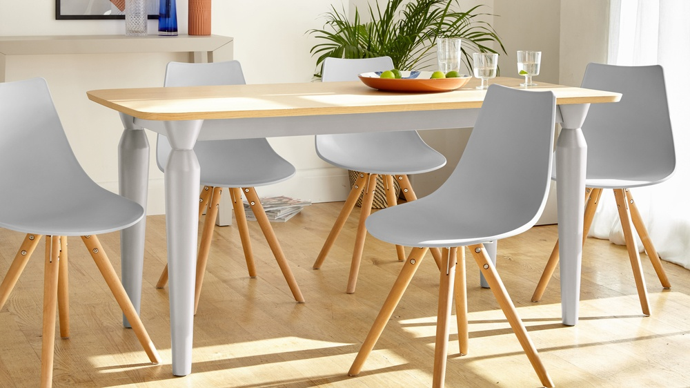 Matt grey and wood dining set