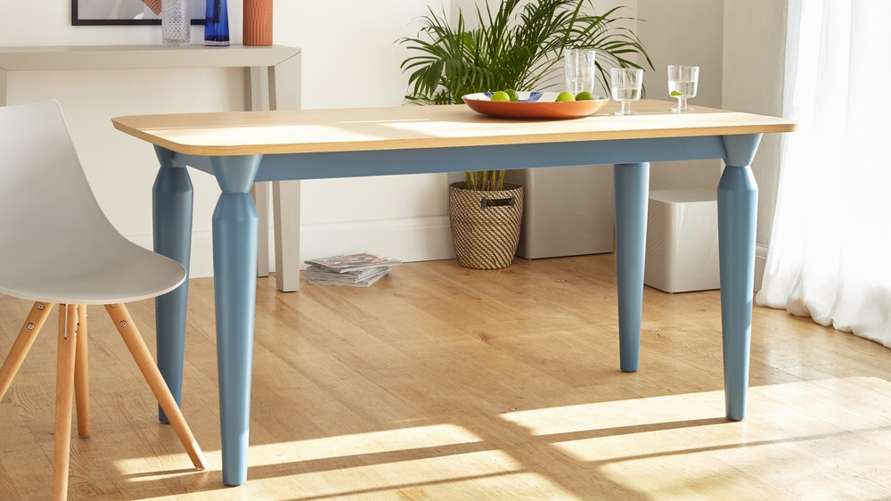 6 Seater Oak And Powder Blue Dining Table Uk