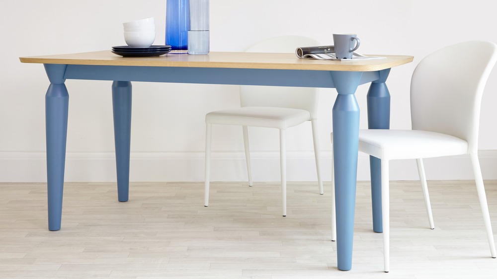 Cleo 6 Seater Oak And Matt Powder Blue Dining Table