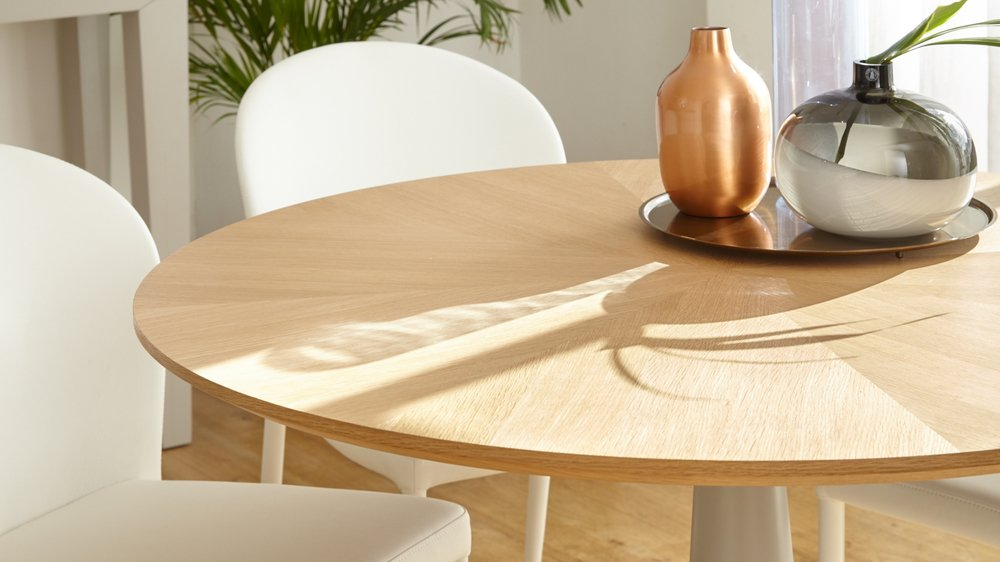 Grey And Oak Round Kitchen Table