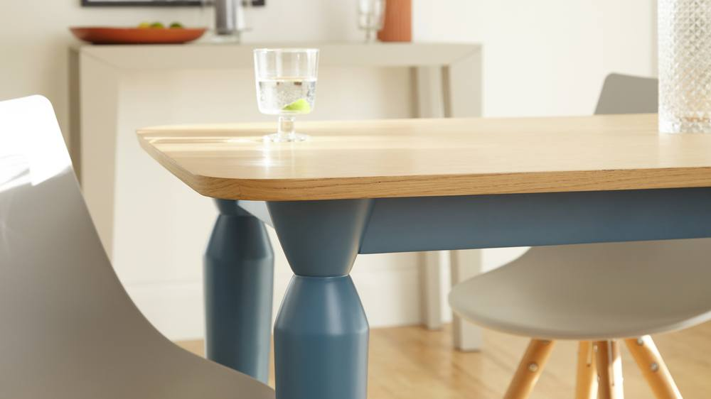 Oak and Blue Matt Dining Table