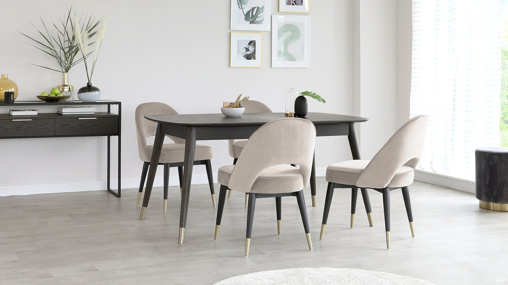 velvet beige chairs