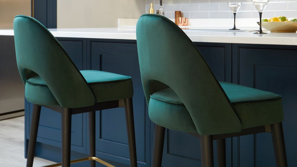 Clover velvet green bar stool
