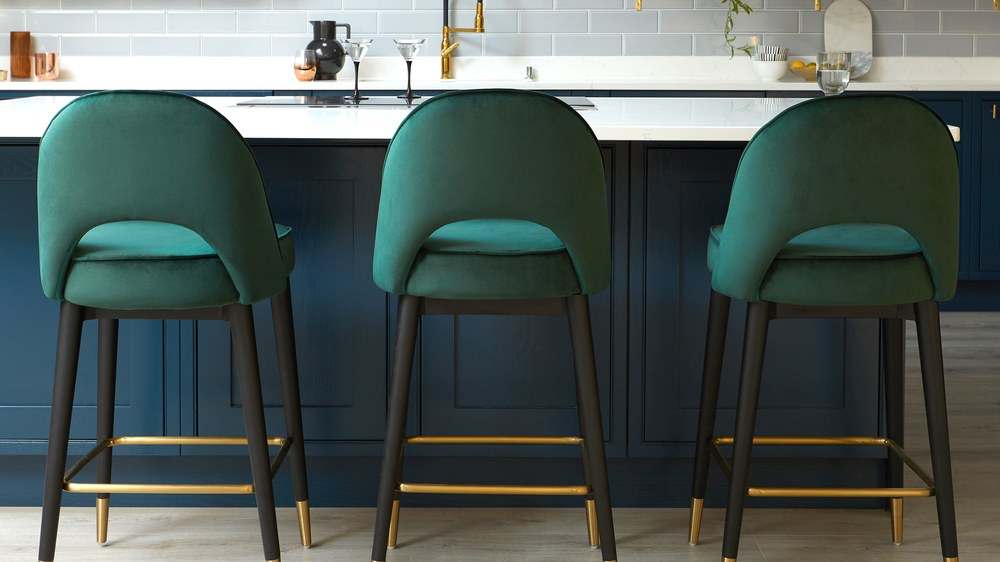 green velvet bar stools
