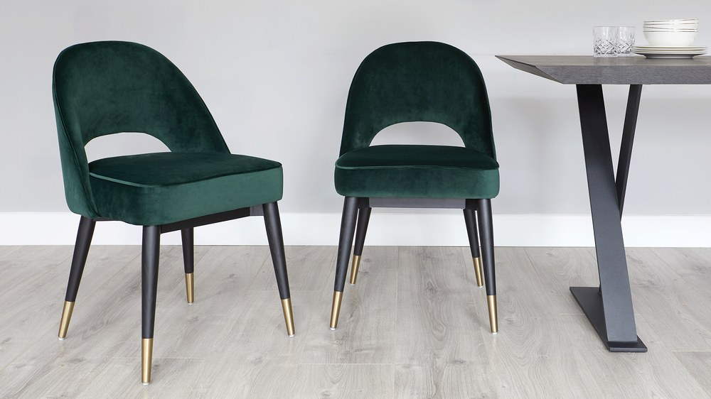 Mid Century Modern Dark Green Velvet Dining Chair