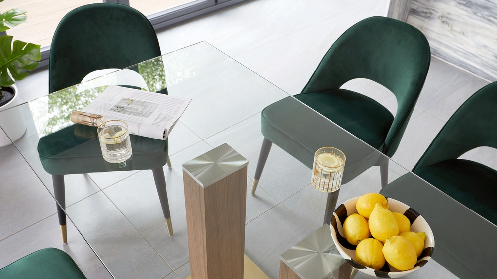 cushioned velvet dining chairs