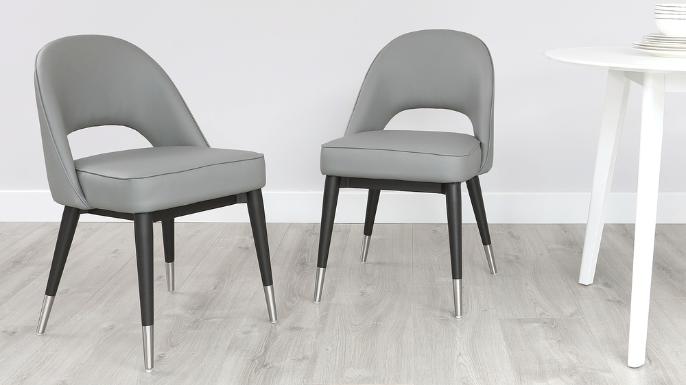 Clover Graphite Grey Faux Leather Dining Chair