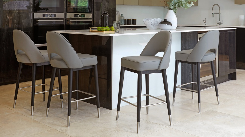 Clover Mid Grey Faux Leather Bar Stool