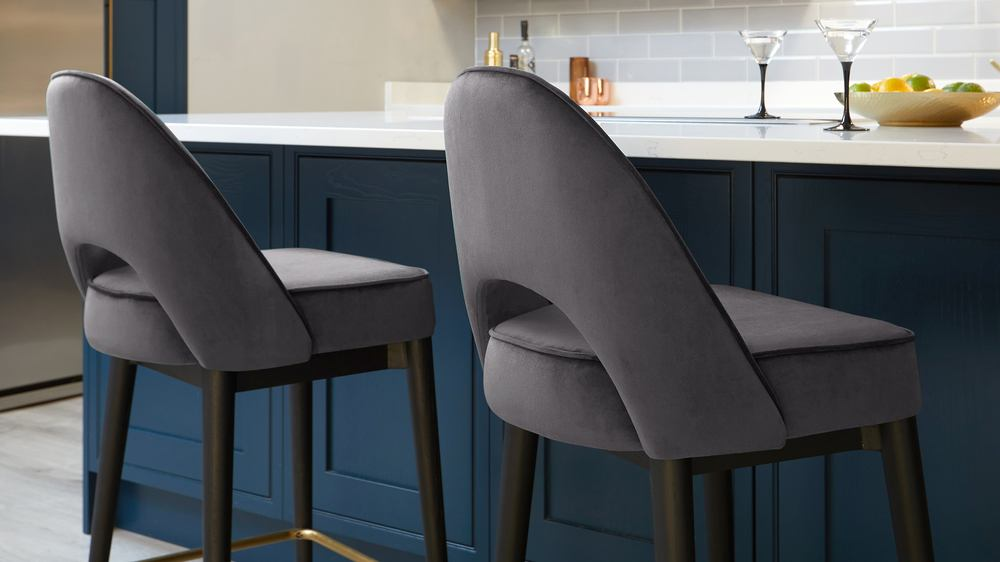 Clover Grey Velvet Bar Stool