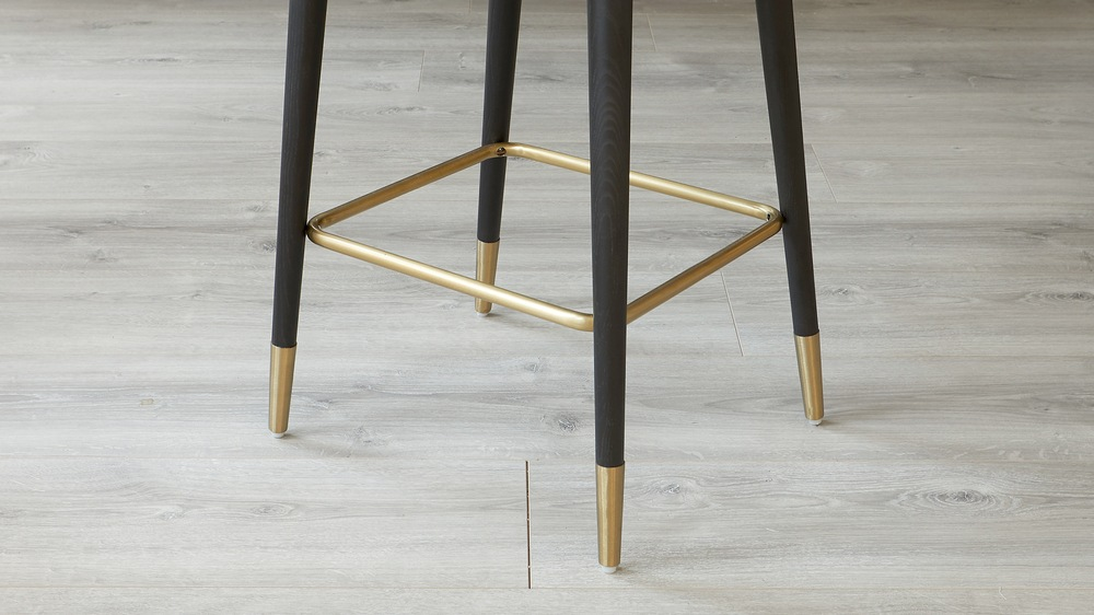 bar stool with brass trim