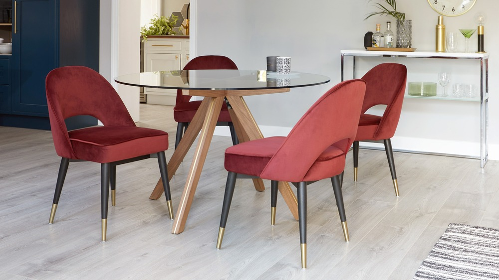 Comfortable red velvet chairs