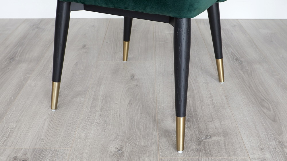 Velvet and brass dining chairs
