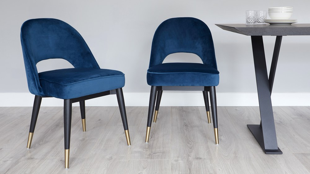 Awesome Clover Sapphire Blue Velvet Dining Chair Machost Co Dining Chair Design Ideas Machostcouk