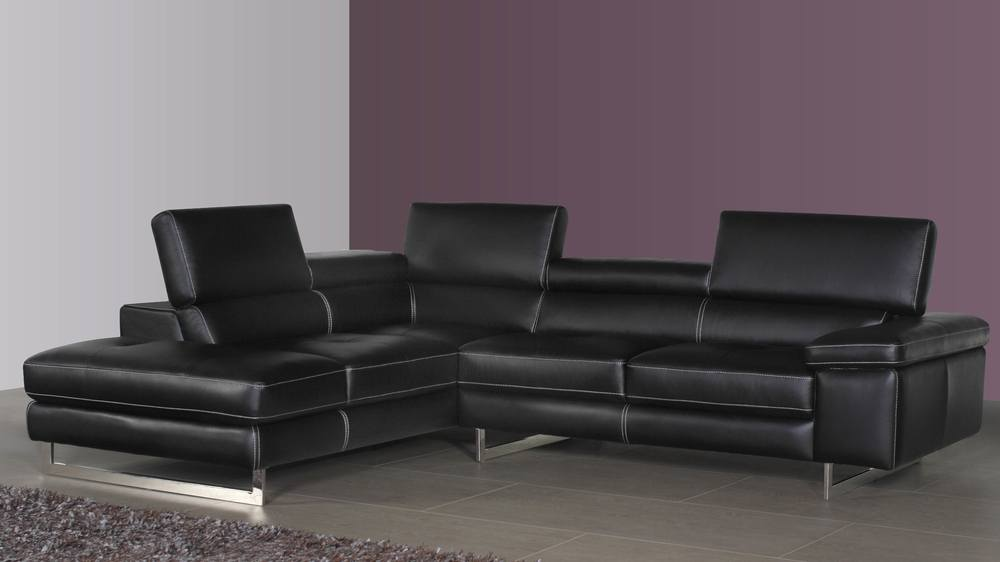Modern Real Leather Corner Sofa Adjustable Armrest UK - Black leather corner sofa