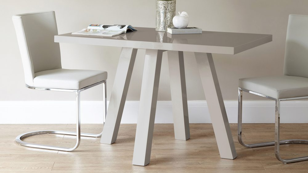 Modern Grey Gloss Cross 4 Seater Dining Table Uk