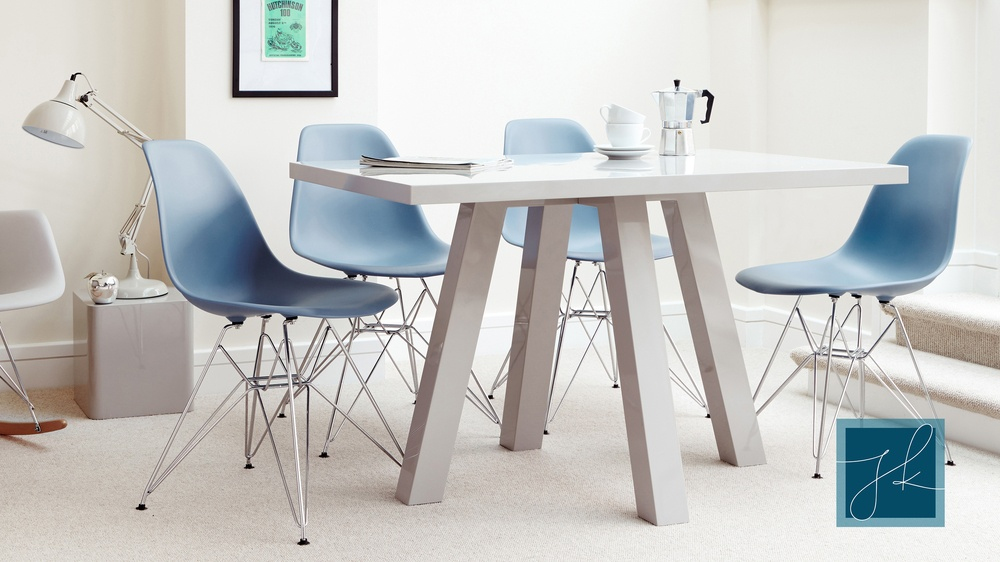 Modern Grey Gloss and Eames Dining Set