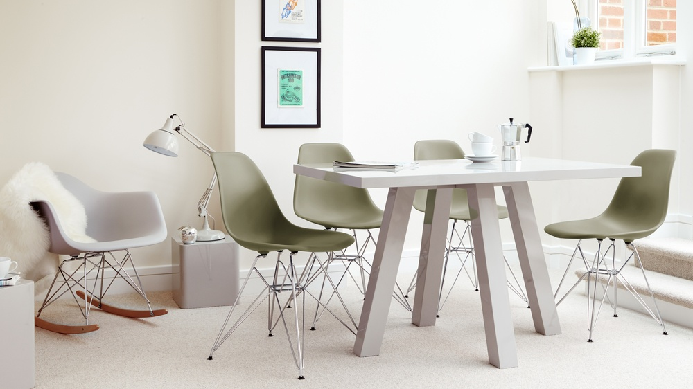 Contemporary Grey Gloss Dining Table and Plastic Chairs
