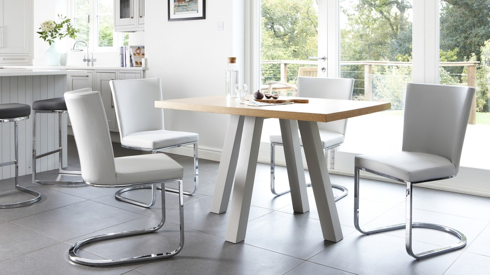 Designer Modern Oak and Grey 4 Seater Dining Table