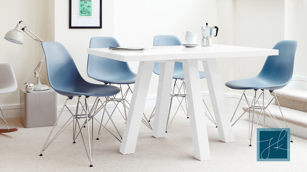 4 Seater White Gloss Designer Dining Table