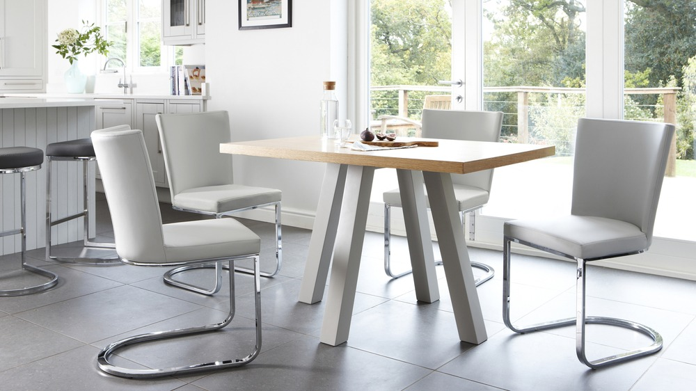 modern matt grey and oak 4 seater dining set uk