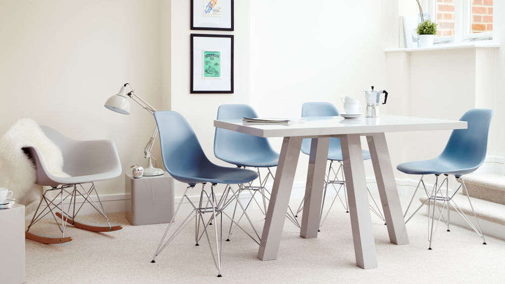 4 Seater Grey Gloss Dining Table and Eames Dining Chairs