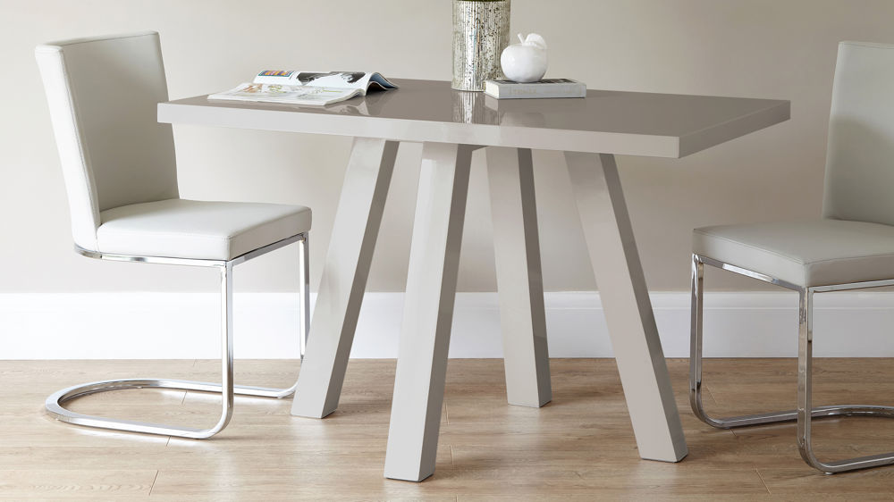 Grey Gloss Dining Table for 4 People