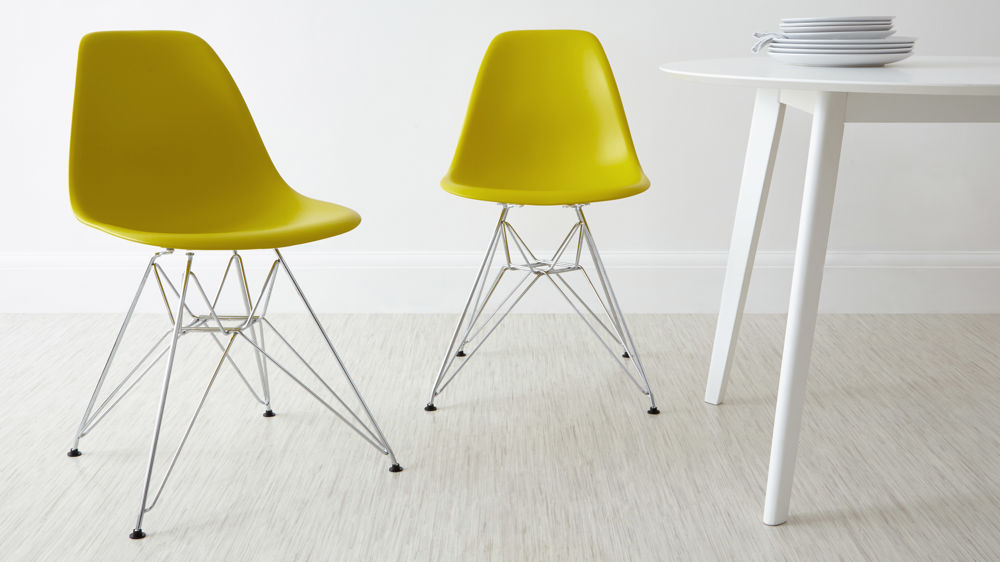 Yellow Plastic Eames Dining Chairs with Metal Chrome Base