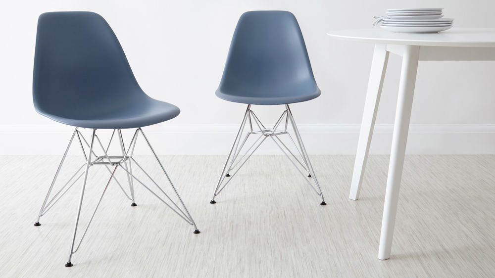 Blue Eames Dining Chairs with Metal Legs