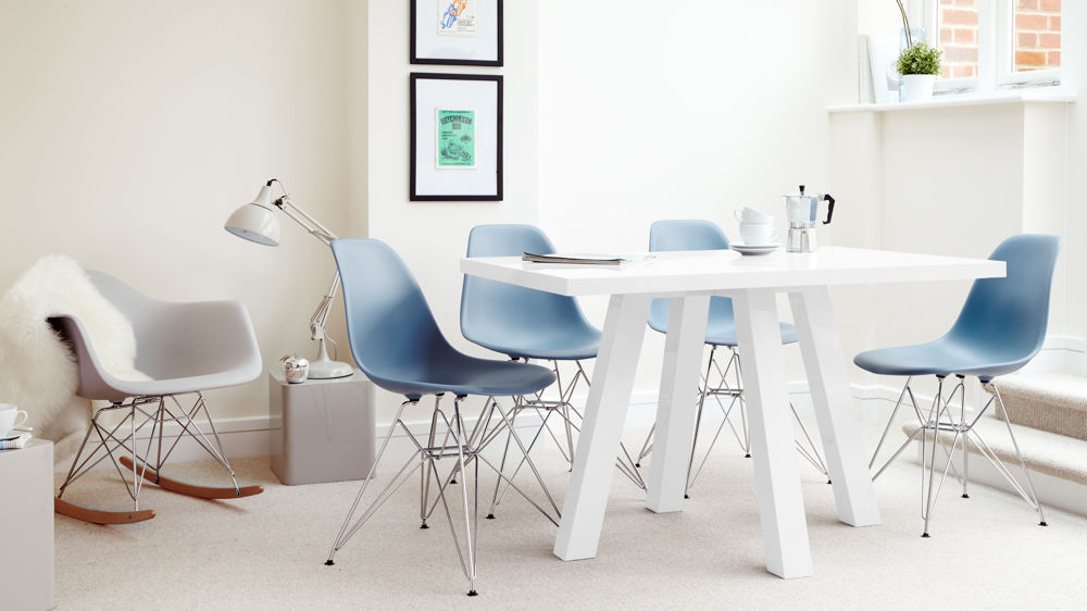 4 Seater White Gloss Dining Table And Eames Chairs