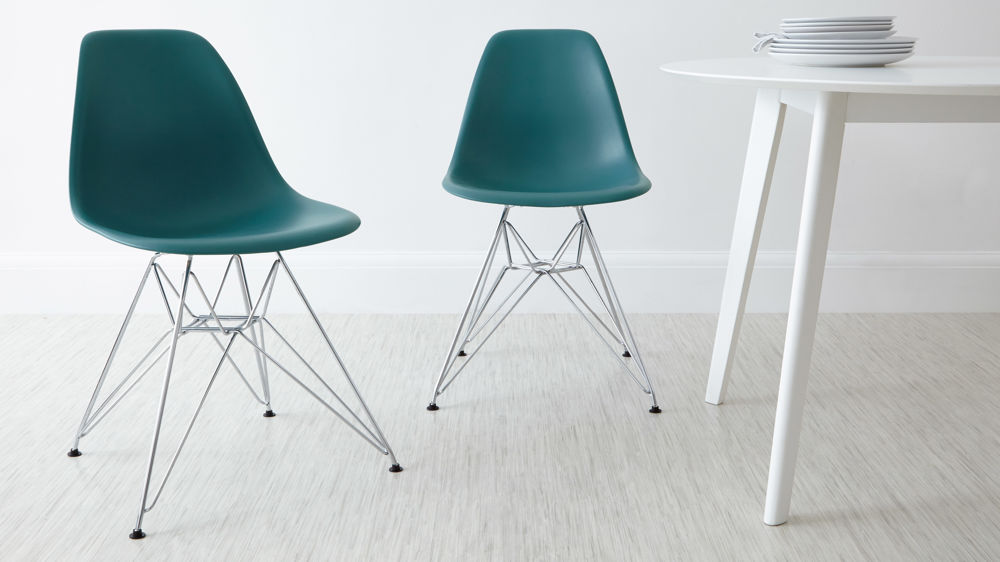 Teal Eames Style Dining Chairs with Chrome Legs