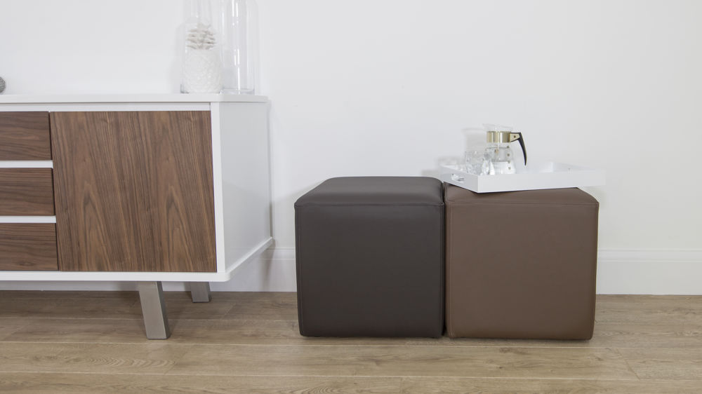 Contemporary Brown Leather Cube Stools