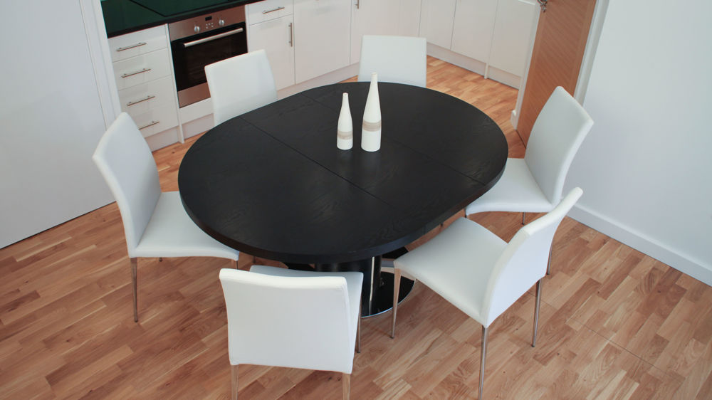 4-6 Seater Dining Table and White Dining Chairs